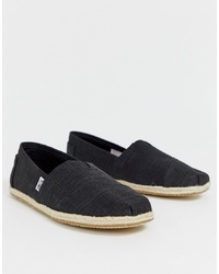 Toms Espadrilles In Black Linen With Rope Detail