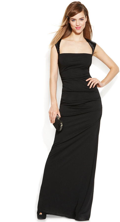 172ff15cf3fa ... Evening Dresses Calvin Klein Cap Sleeve Sequined Ruched Gown ...