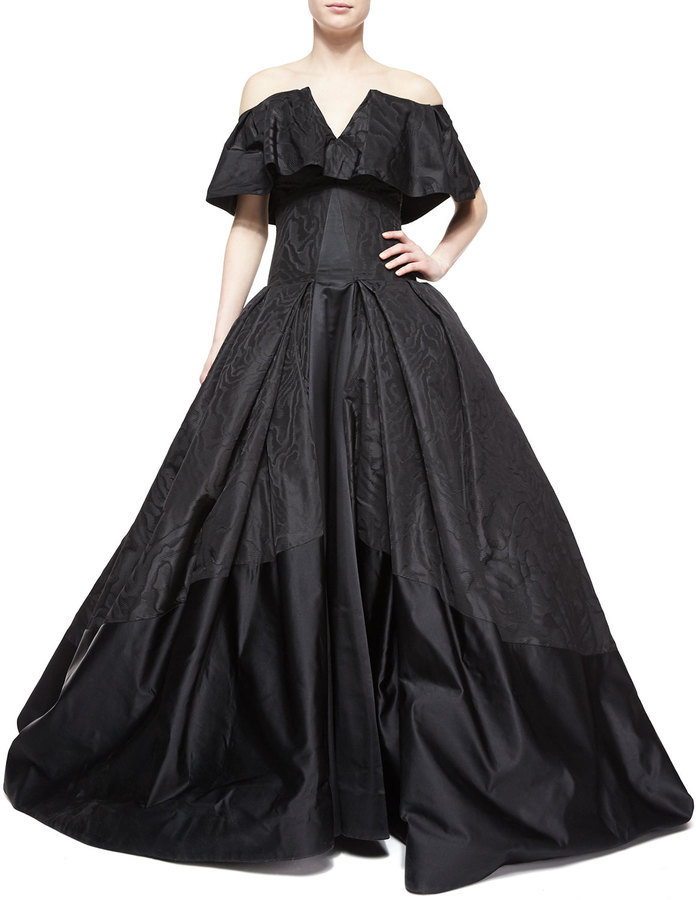 Zac Posen Cape Overlay Ball Gown Jet Black | Where to buy & how to wear