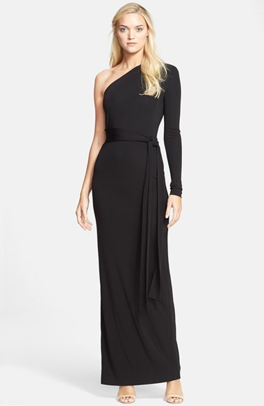691806e735aa4 ... Black Evening Dresses Diane von Furstenberg Coco One Shoulder Maxi Dress  ...
