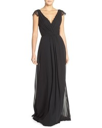 Hayley paige occasions lace chiffon cap sleeve gown medium 669191