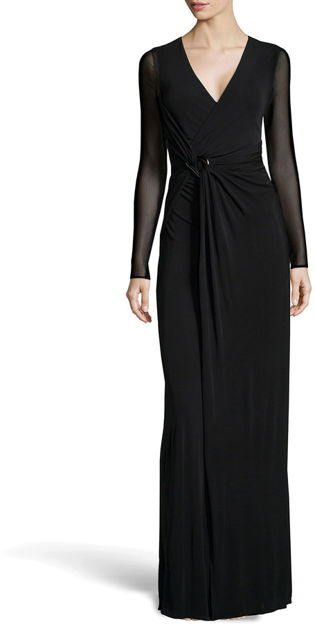 Halston Heritage Long Sleeve Wrap Stretch Gown Black | Where to buy ...