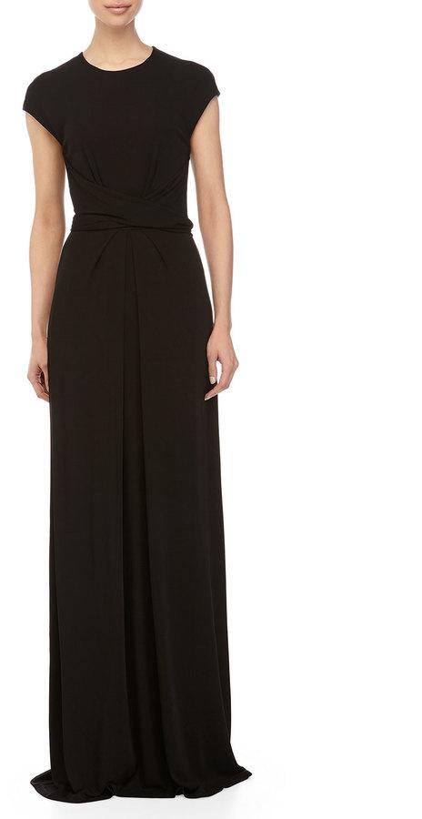 Michael Kors Michl Kors Cap Sleeve Wrap Waist Gown Black | Where to ...