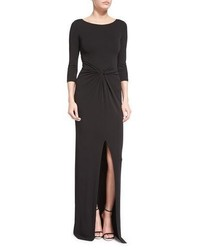 Michael Kors Michl Kors Collection 34 Sleeve Twist Front Gown Black