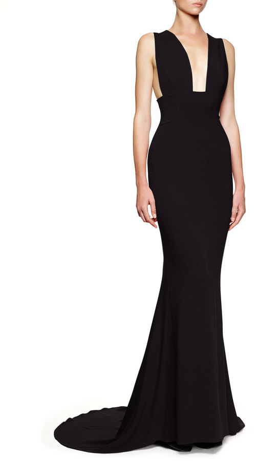 40e9f2166201a ... Evening Dresses Stella McCartney Plunging Sleeveless Godet Gown Black  ...