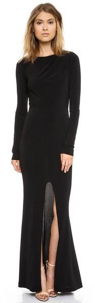 Rachel Zoe Long Sleeve Gown Black Evening Dress