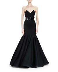 Saint Laurent Strapless Bustier Trumpet Gown Black