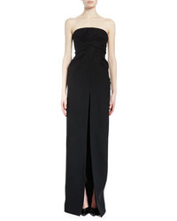 Saint Laurent Strapless Twist Front Column Gown Black