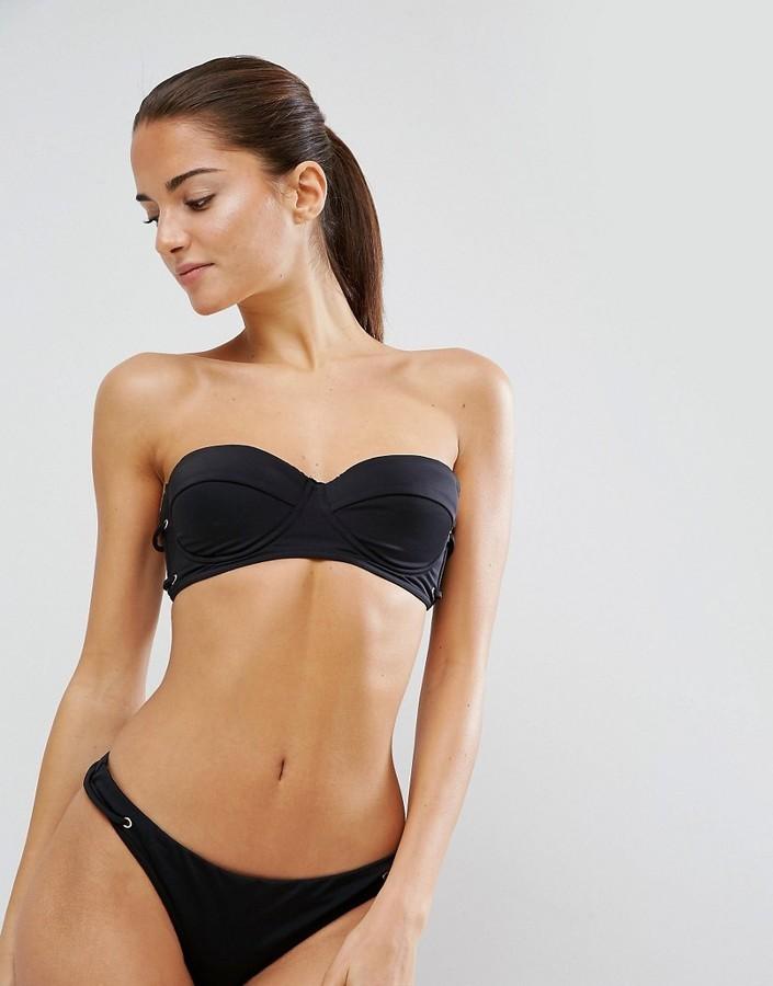 Mix and Match Cupped Bandeau Bikini Top with Eyelets - Black Asos Explore Sale Online ZepXTJG