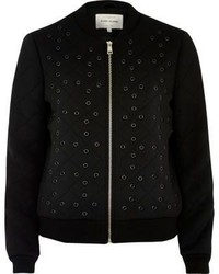 Black eyelet detail bomber jacket medium 3705402