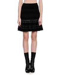 Chenille miniskirt with eyelet trim black medium 3746027