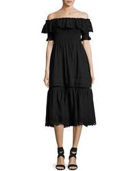 Rebecca Taylor Off The Shoulder Eyelet Midi Dress Black