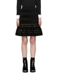 Alexander McQueen Black Sculptural Eyelet Miniskirt