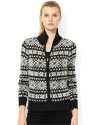 Fair isle full zip cardigan medium 124393