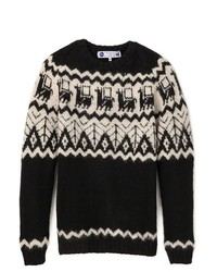 Black Fair Isle Crew-neck Sweater