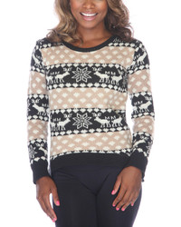 Black beige reindeer fair isle sweater medium 1101334
