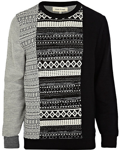 River Island Black Fair Isle Color Block Sweater   Where to buy ...