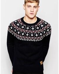 Jack and Jones Jack Jones Knitted Sweater With Holidays Fair Isle Yoke