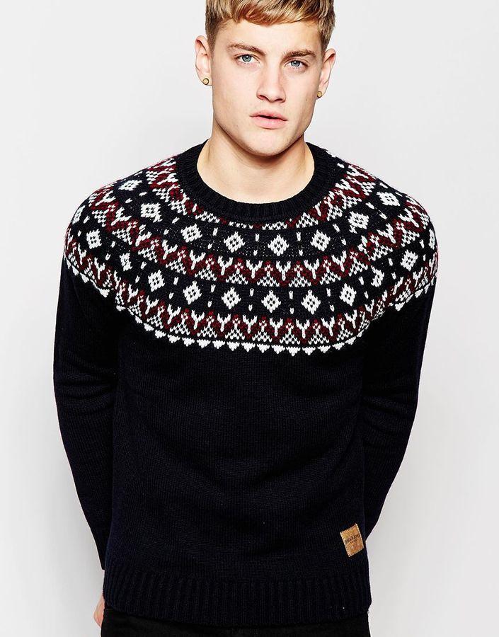 0b8587992517 ... Jack and Jones Jack Jones Knitted Sweater With Holidays Fair Isle Yoke  ...