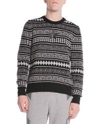 Striped fair isle sweater blackwhite medium 123143
