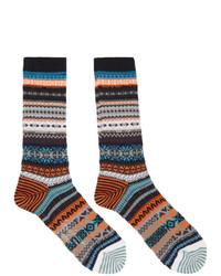 Yohji Yamamoto Black Intarsia Fairisle Socks