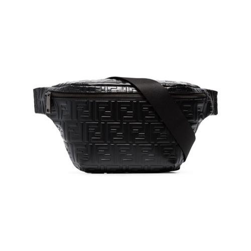 676dd8293eefa $1,537, Fendi Black Ff Logo Leather Crossbody Bag