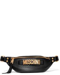 Moschino Embellished Textured Leather Belt Bag Black
