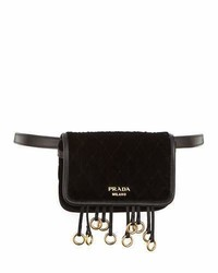 Prada Quilted Velvet Belt Bag Crossbody Chain