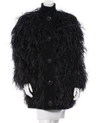 Feather embellished alpaca coat medium 5375516