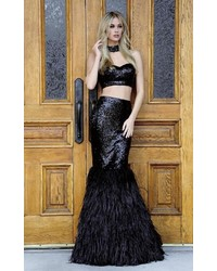 Colors couture j044 two piece feathered evening gown medium 5374851