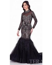 Long sleeve feather mermaid gown medium 5374850
