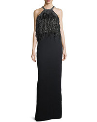 Parker black dominique halter beaded feather evening gown medium 5374849