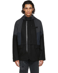 Sacai Black Navy Melton Wool Jacket