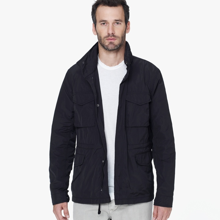Water Repellent Utility Jacket. Black Field Jacket by James Perse