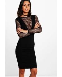 Lottie long sleeved fishnet v neck midi dress medium 5371006