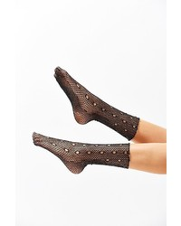 Out From Under Glitter Fishnet Crew Sock