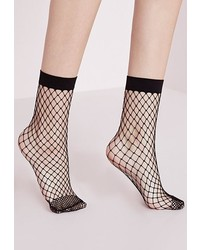 Missguided Oversized Fishnet Ankle Socks Black