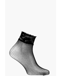 Boohoo Orla Lace Trim Fishnet Ankle Socks
