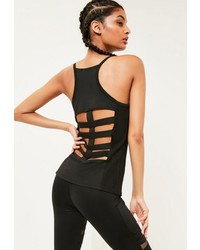 Missguided Active Black Fishnet Tank Top