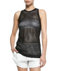 Helmut Lang Sleeveless Mesh Lambskin Leather Top