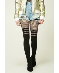 Forever 21 Striped Fishnet Paneled Tights