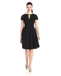 Anne Klein Short Sleeve Fit And Flare Dress With Neck Trim