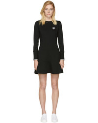 Kenzo Black Tiger Crest Fit And Flare Dress