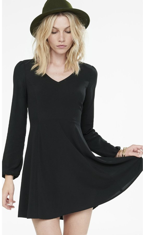 V Neck Long Sleeve Fit And Flare Dress