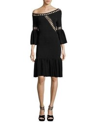 JONATHAN SIMKHAI Chain Link Knit Fit And Flare Midi Dress Black
