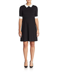 Betsey Johnson Faux Pearl Collar Fit And Flare Dress
