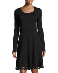 Neiman Marcus Fit Flare Laser Cut Hem Dress Black