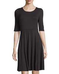 Neiman Marcus Half Sleeve Fit Flare Jersey Dress Black