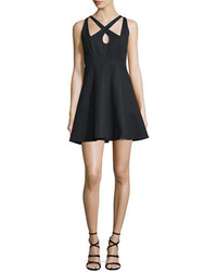 Halston Heritage Crisscross Front Fit  Flare Dress Black