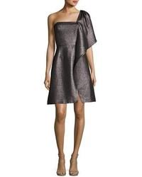 Halston Heritage One Shoulder Fit And Flare Shimmer Knit Cocktail Dress